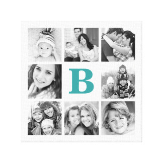 Custom Monogram Family Photo Collage Canvas