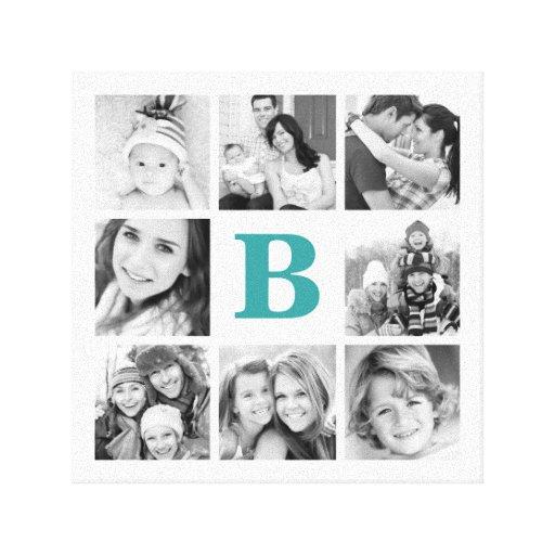 Custom Monogram Family Photo Collage Canvas Gallery Wrap Canvas