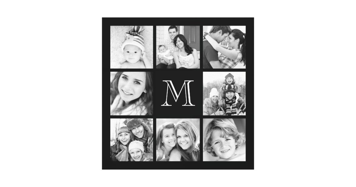 Custom Monogram Family Photo Collage Canvas Zazzle Com