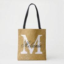 Custom monogram faux gold glitter print tote bags