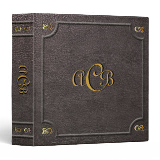 Custom Monogram Faux Leather 3 Ring Binder