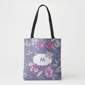 Custom Monogram Floral Pattern Tote Bags