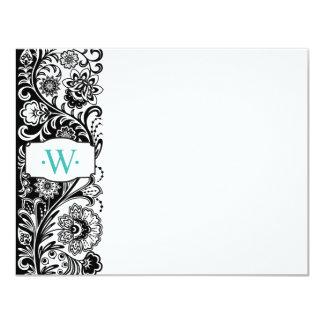 Custom Monogram Floral Sidebar Notecard