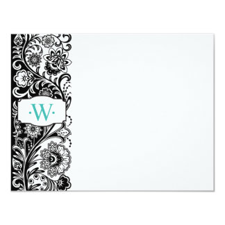 "Custom Monogram Floral Sidebar Notecard 4.25"" X 5.5"" Invitation Card"