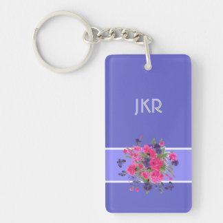 Custom Monogram Flower Painting Gift Keychains