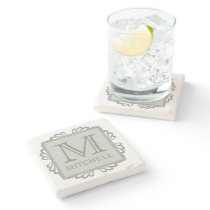 Custom Monogram Frame Pattern coaster
