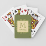 "Custom Monogram Frame Pattern playing cards<br><div class=""desc"">Change the text fields to what you want. Using the ""customize it"" function,  you can change the background color of this item,  and/or the fonts and their sizes and colors,  if you wish. See my store for more items with this design.</div>"