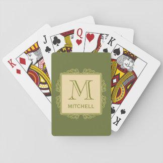 Custom Monogram Frame Pattern playing cards