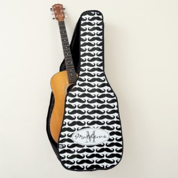 Beach Themed Custom monogram funny black mustache pattern guitar case