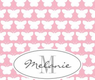 2dece260e8 Custom monogram girly pink butterfly baby blanket