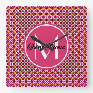 Custom Monogram Girly Pink Red Floral Diamonds Square Wall Clock