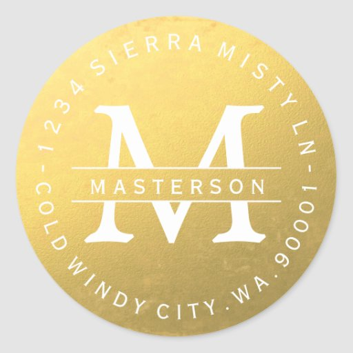 Custom Monogram Gold Circular Return Address Label Classic Round Sticker
