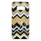 Custom Monogram Gold Glitter Bling Chevron Pattern Case-Mate Samsung Galaxy S8 Case