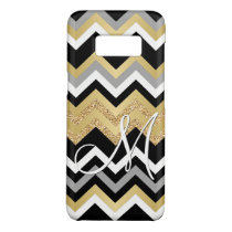 Custom Monogram Gold Glitter Bling Chevron Pattern Case-Mate Samsung Galaxy S8 Case