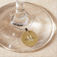 Custom monogram gold glitter wine glass charms