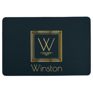 Custom Monogram Gold on Darkest Blue Floor Mat