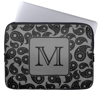 Custom Monogram. Gray and Black Paisley Pattern. Computer Sleeve