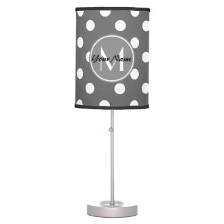 Custom Monogram Gray and White Polka Dots Pattern Table Lamp