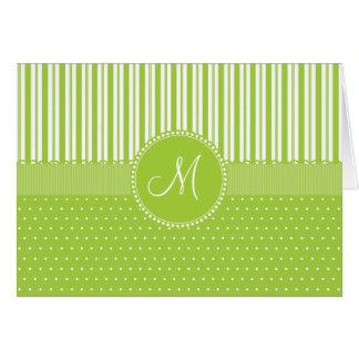 Custom Monogram Green Stripes Polka Dots Pattern Card