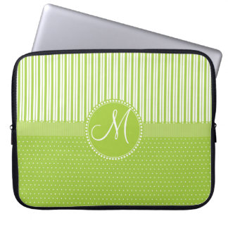 Custom Monogram Green Stripes Polka Dots Pattern Computer Sleeve