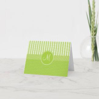 Custom Monogram Green Stripes Polka Dots Pattern Note Card