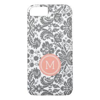 Custom Monogram Grey Coral Damask iPhone 8/7 Case