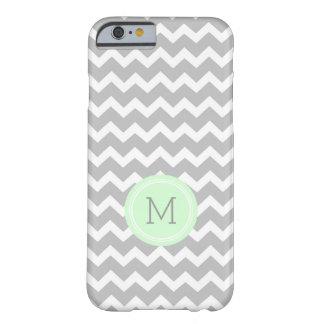 Custom Monogram Grey Mint Chevron Barely There iPhone 6 Case