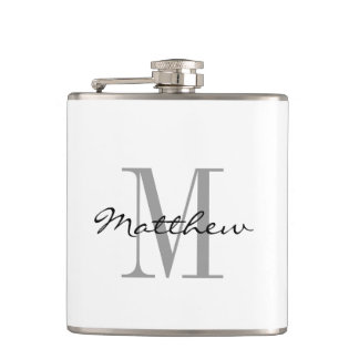 Custom monogram groomsman bridal party drink flask