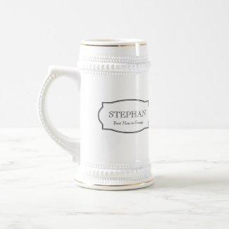 Custom monogram groomsmen elegant beer stein mug