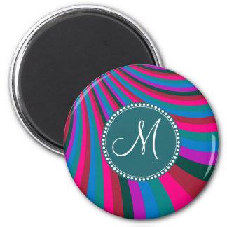 Custom Monogram Groovy Magenta Blue Stripes 2 Inch Round Magnet