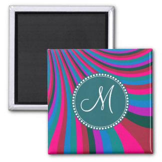 Custom Monogram Groovy Magenta Blue Stripes 2 Inch Square Magnet