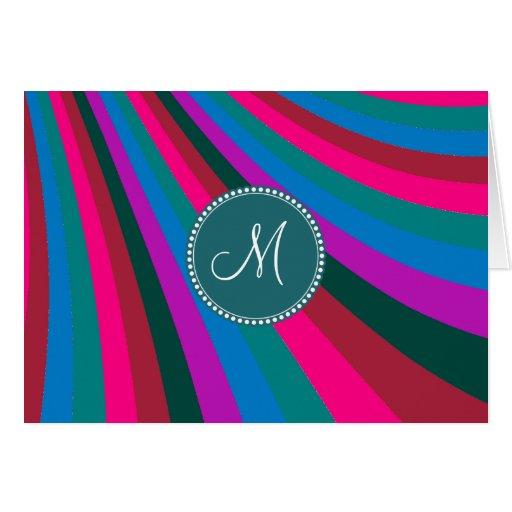 Custom Monogram Groovy Magenta Blue Stripes Stationery Note Card