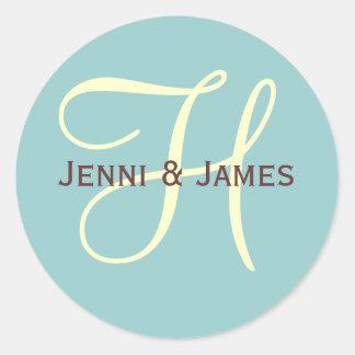 Custom Monogram H Wedding Favor & Envelope Sticker