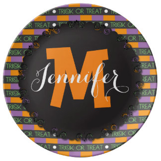 Custom Monogram Halloween Candy Plate Serving Dish