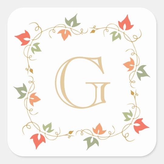 Custom Monogram Hand Drawn Ivy Vine Wreath Square Sticker