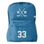 Custom monogram hockey jersey number backpack