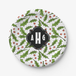 Custom Monogram Holly Berry Sprig Pattern 7 Inch Paper Plate
