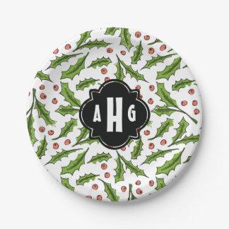 Custom Monogram Holly Berry Sprig Pattern Paper Plate