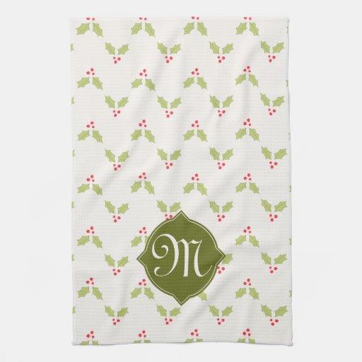 Custom Monogram Holly Christmas Kitchen Towel