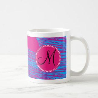Custom Monogram Hot Pink Blob on Blue Abstract Art Coffee Mug