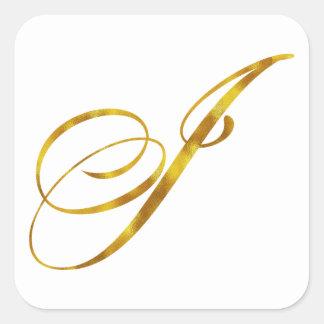 Custom Monogram I Faux Gold Foil Monograms Initial Square Sticker