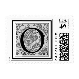 Custom Monogram Initial -Damask Design - O Postage