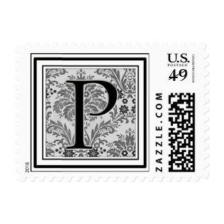 Custom Monogram Initial -Damask Design P Stamp