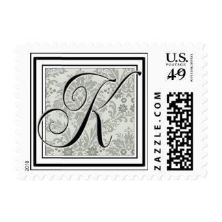 Custom Monogram Initial -Damask Script K Postage