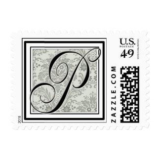 Custom Monogram Initial -Damask Script P Postage Stamp