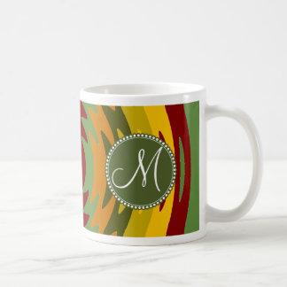 Custom Monogram Initial Earth Tones Ripples Waves Coffee Mug