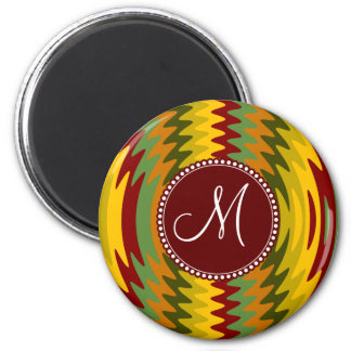 Custom Monogram Initial Earth Tones Ripples Waves Magnet