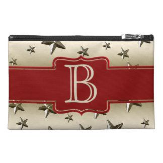 Custom Monogram Initial Gold Stars Pattern Travel Accessory Bag