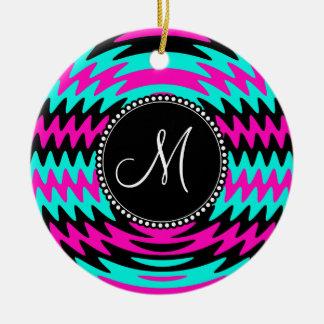 Custom Monogram Initial Hot Pink Black Teal Waves Ceramic Ornament