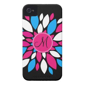 Custom Monogram Initial Hot Pink Teal Blue Flower iPhone 4 Case-Mate Cases
